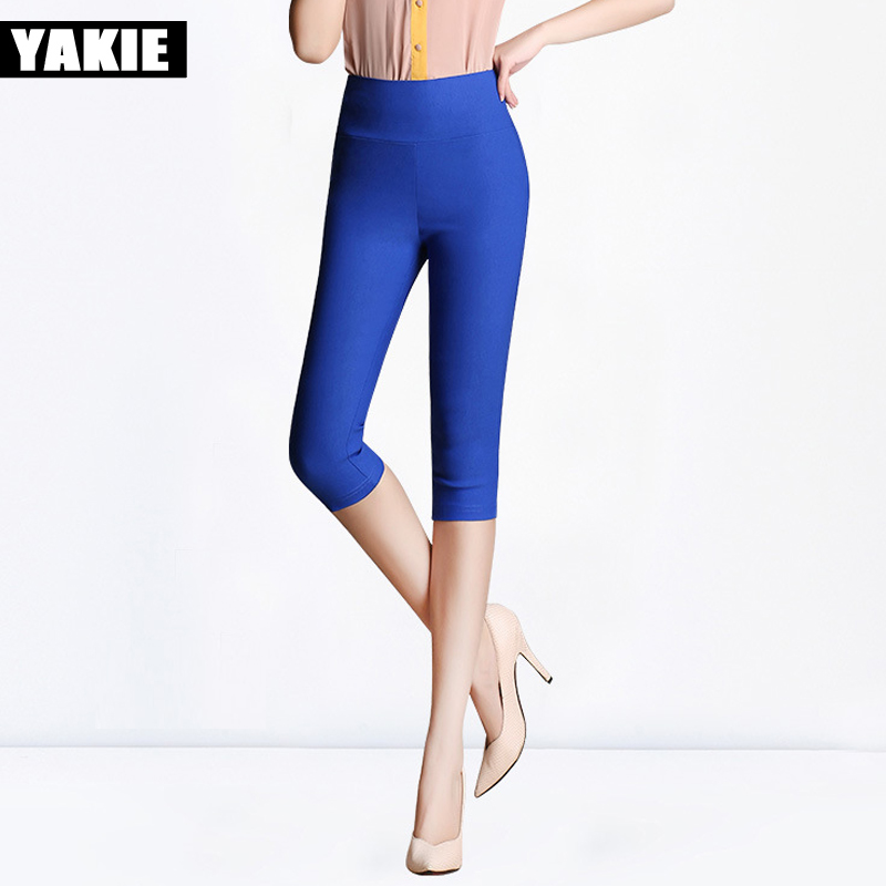 High waist Women   Pants   Summer 2017 Plus Size 5XL 6XL Candy color skinny slim Elastic pencil   pants   female   pants     Capris   for women