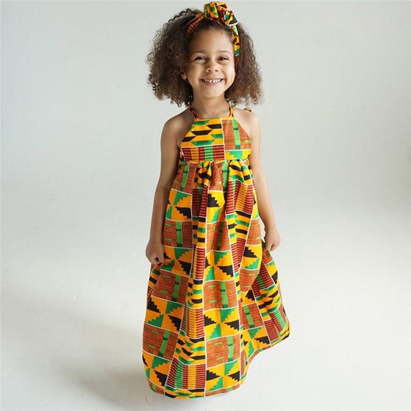 Toddler Baby Girls African Print Off Shoulder Hair Band Princess Casual Dress vestido robe fille  #4j12 (9)