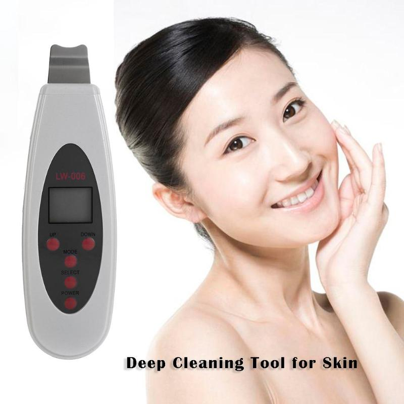 LCD Digital Electric USB Ultrasonic Facial Skin Scrubber Dead Skin Remover Women Beauty Face Skin Care Device|Powered Facial Cleansing Devices| |  - title=