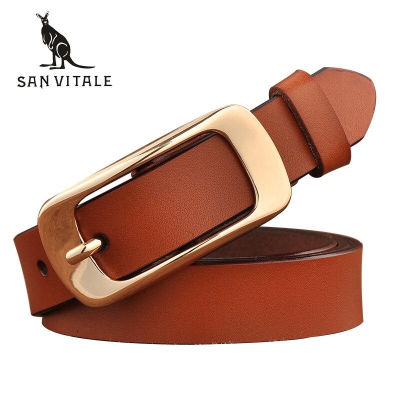 SAN VITALE New Designer Women's Belts Fashion Genuine Leather Brand Strap Female Waistband Pin Buckles Fancy Vintage For Jeans