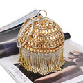 Mini Golden Full Diamonds Tasells Evening Bag Handmade Luxury Rhinestone Bride Women Clutch Handbags Wedding Party Banquet Bags