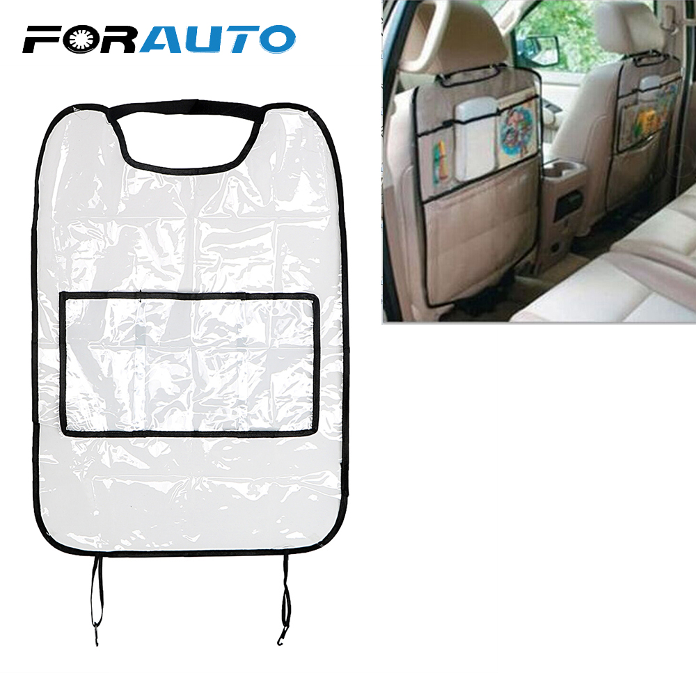 FORAUTO For Children Kick Mud Mats Seat Back Protector Car Seat Covers With Bag Car Storage Bags Travel Organizer Waterproof