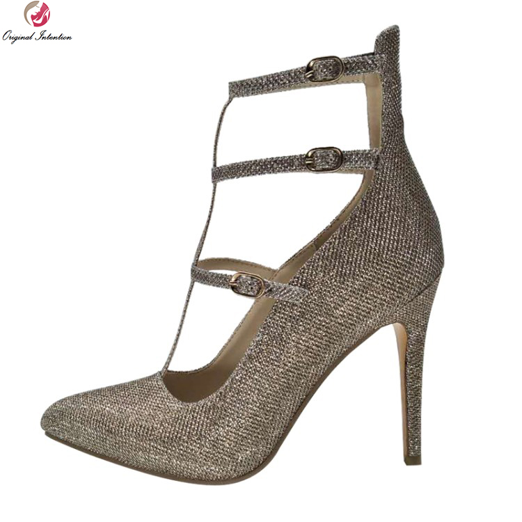 Original Intention New Fashion Women Sandals Sexy Pointed Toe Thin High Heels Sandals Elegant Gold Shoes Woman Plus US Size 4-13 gzx101206 fashion woman thin high heels pu pump lady plus big size sexy pointed toe shoes woman wedding shoes t strap 10cm 12cm