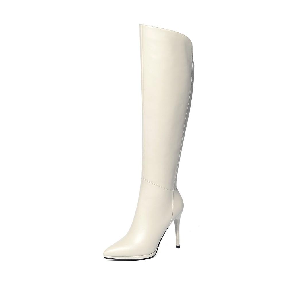 Pointu Le White Cuir Bout Dames Confortable Bottes Tirette Femmes Black Chaussures beige 2019 Élégant Whiteover Genou Mode De Véritable Hiver ywOvNn0m8