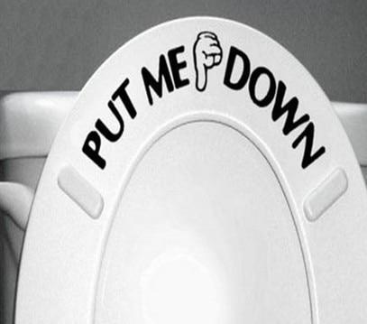 Home Decor PUT ME DOWN наклейка Ванная комната унитаза знак напоминание Цитировать Слово Надписи Книги по искусству винил Стикеры