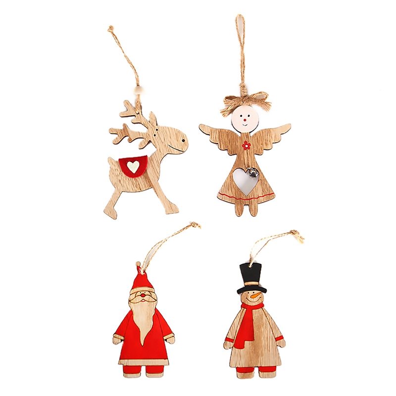 New Year Natural Wool Wood Christmas Tree Ornament Wooden Hanging Pendants Gifts Snow Elk Christmas Decor Merry Christmas 2019 in Pendant Drop Ornaments from Home Garden