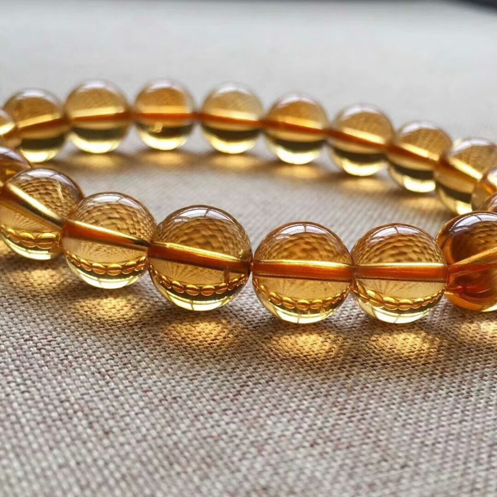 9mm Genuine Natural Yellow Citrine Quartz Crystal Bracelet Round Beads Gemstone Wealthy Stone Stretch Woman ManAAAAAA (6)