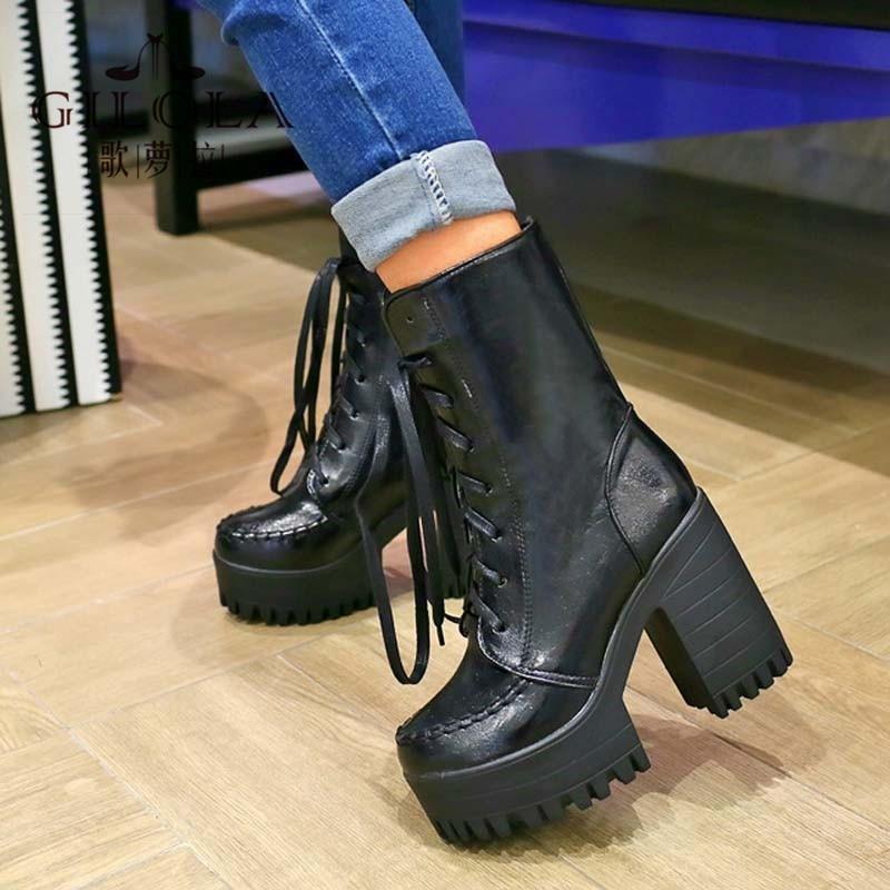 ФОТО new fashion female martin platform high heels ankle boots heels women motorcycle boots women's shoes woman best #J1418388F