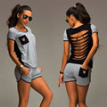 New Women Summer Clothing Set Back Strap Hollow Out Top+ Shorts Outfit Workout  Suit Fitness Clothes