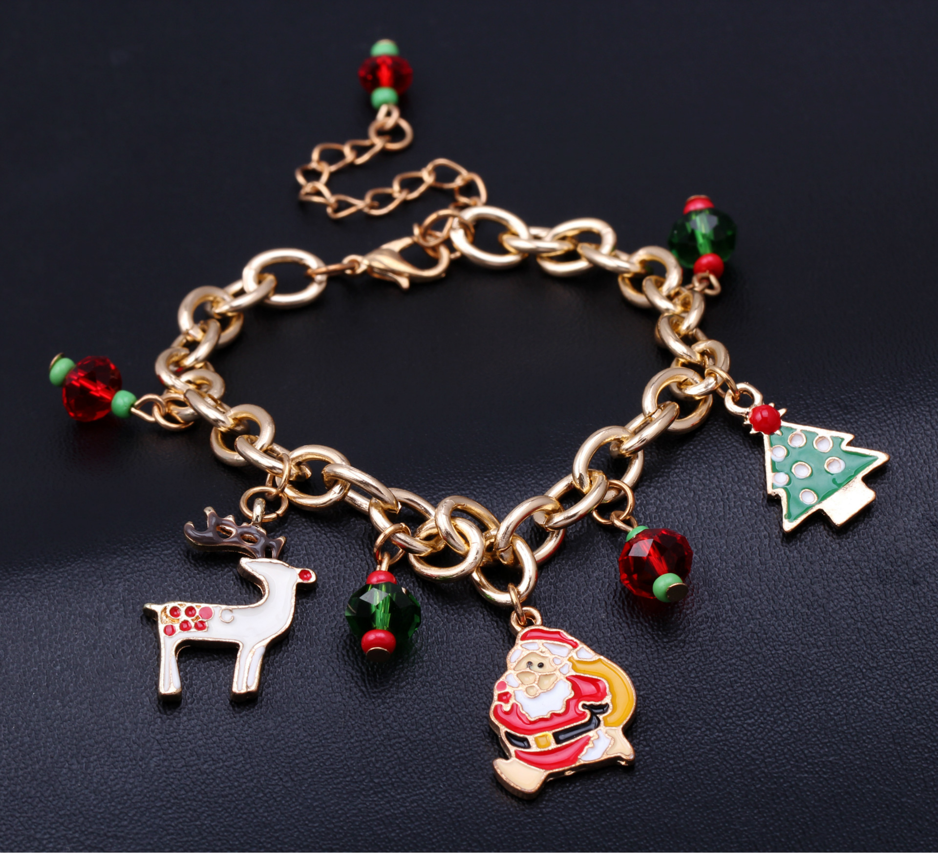 New Christmas Gift Charm Bracelet Jewelry Santa Claus Elk Pendant Alloy Beads Bangles Jewelry for Women Girl Bracelets for Women