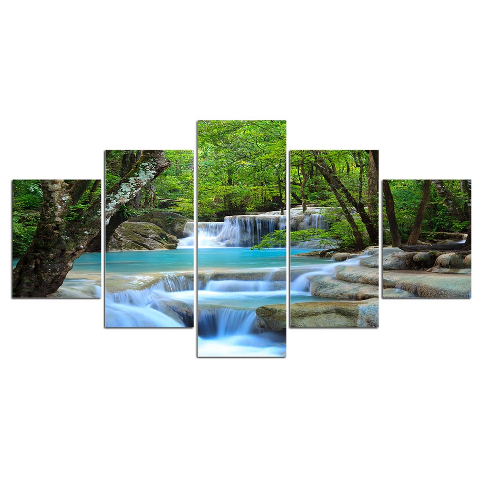 5 Pieces Natural Waterfall HD Prints Canvas Painting Posters Home Decor Paintings Wall Art Scenery Pictures for Living Room in Painting Calligraphy from Home Garden