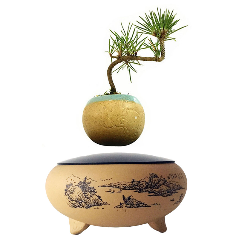 2017 japanese levitating potted magnet ceramic floating pot air bonsai gift (no plant) for free shpping