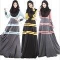 2017 Новый исламский абая мусульманская одежда для женщин мода красочные Полосатый платье абая турецкая женской одежды мусульманская хиджаб платье