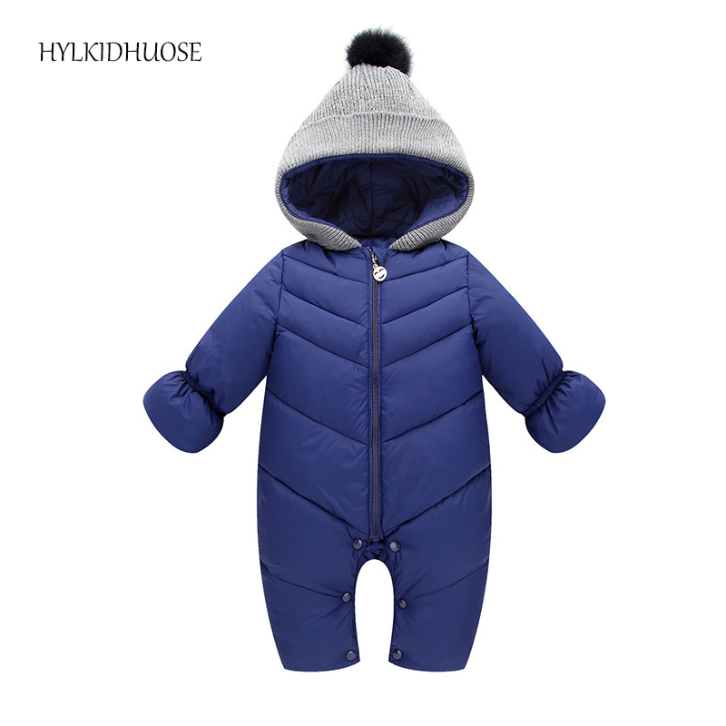 HYLKIDHUOSE 2017 Autumn Winter Baby Girls Boys Rompers Hooded Infant Newborn Cotton Jumpsuits Children Kids Outdoor Warm Coats autumn winter baby hats new fashion children warm ball hat double color boys and girls cotton caps beanies baby knitted hat