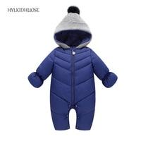 HYLKIDHUOSE 2017 Autumn Winter Baby Girls Boys Rompers Hooded Infant Newborn Cotton Jumpsuits Children Kids Outdoor