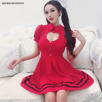 Sexy Night Club Party Dresses Ladies Cute Hollow Out Bare Breasts Slim Waist Empire Pleated Mini Dress Japan Soft Sister Dress