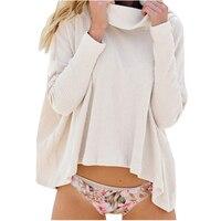 Осень-зима Для женщин мода Водолазка свободный свитер (белый, S)