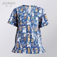 Free Shipping Cotton Short Sleeves Summer Unisex Bleach Resistant Scrubs Medical Gown Beautician Uniforms Medical Scrubs