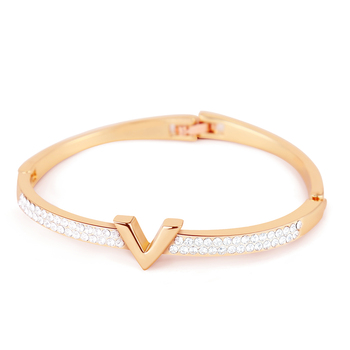 V Letter Design Best Zircon Rose Gold And White Simple Jewelry Bracelets & Bangle