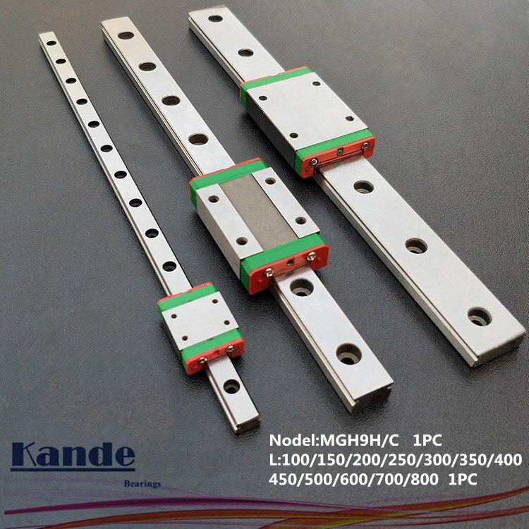 MGN9 CNC 9 millimetri in miniatura guida lineare guida MGN9C L100-600mm MGN9 blocco di trasporto lineare o MGN9H stretto trasporto