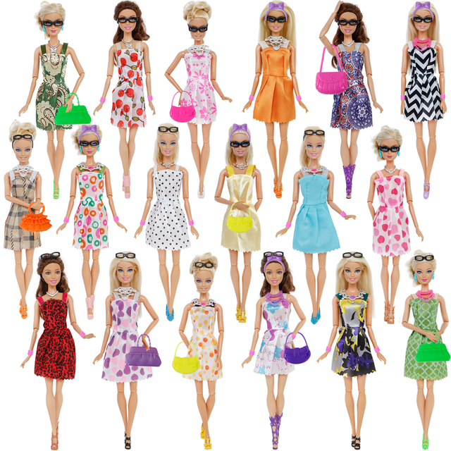 42 Item/Set Doll Accessories = 10Pcs Shoes + 8 Necklace 4 Glasses 2 Crowns 2 Handbags + 8 Pcs Clothes for Barbie Doll 1