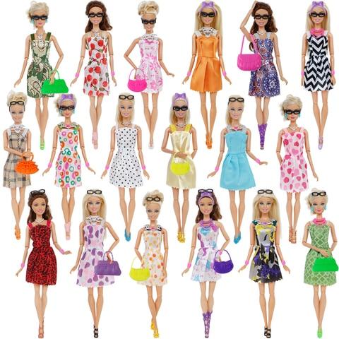 42 Item/Set Doll Accessories = 10Pcs Shoes + 8 Necklace 4 Glasses 2 Crowns 2 Handbags + 8 Pcs Doll Dress Clothes for Barbie Doll Lahore