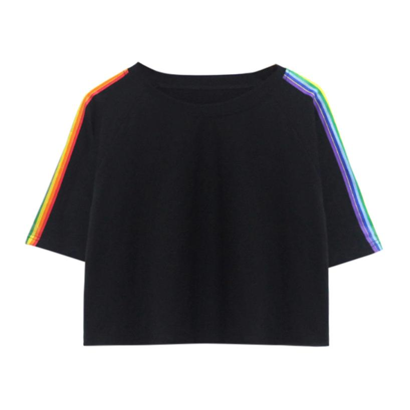 Women Short Sleeve Rainbow Printed Casual T Shirt O Neck Vest Tops womens fashion t-shirt brand