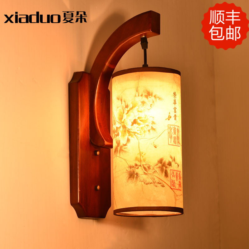 Led chinese style living room wall lamp single head solid wood antique bedside lighting stair lamps
