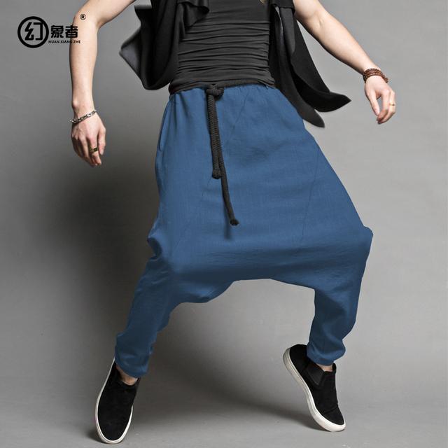 Japonés nacional código baggy pantalones entrepierna pantalones pies de la personalidad Metrosexual sueltos colgando entrepierna pantalones pantalones de harén