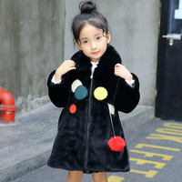 Children Girls Winter Coats New 2017 Fashion Brand Thick Fake Fur Warm Baby Jacket Solid Casual