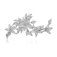 Vintage Flower Large Rhinestone Crystal Collar Pins and Brooches for Women Suit Men Zircon Lapel Pin Broach Wedding Jewelry X104