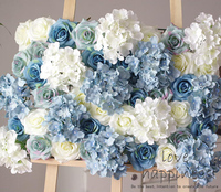 10PCS 40cm*60cm Artificial silk white with sky blue Hydrangea Rose flower wall wedding decoration home deor party flowers wall