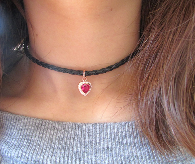 a876c407bb1f2 US $10.99 |2017 925 sterling silver pink heart valentines gift short women  rose heart charm choker necklace 925-in Chain Necklaces from Jewelry & ...