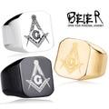 BEIER 316L Stainless Steel  Masonic Ring for Men, Master Masonic Signet Ring, free mason ring jewelry BR8-019