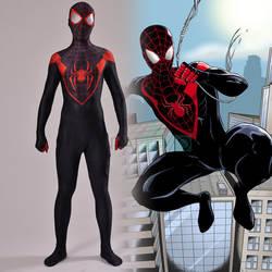 Взрослые мужчины дети Майлз Моралес Удивительный Человек-паук костюм зентай для косплея Человек-паук шаблон Боди Комбинезоны