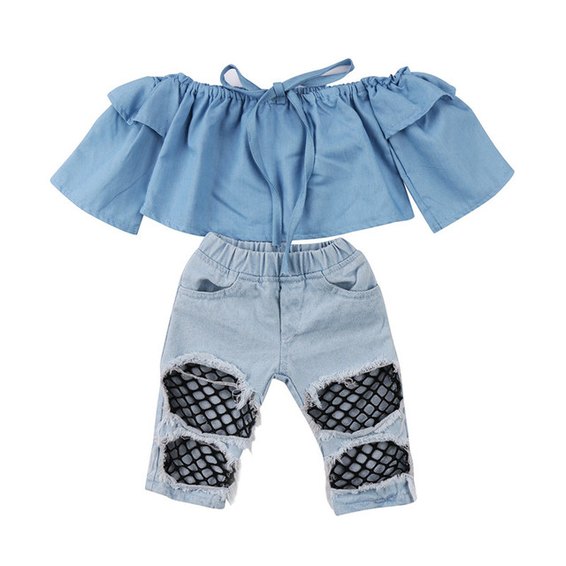 d05c97de93c12 Baby Girls Off Shoulder Clothing Toddler Kids Tops Denim Pants Hole Jeans  Outfits Clothes