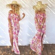 2019 Cross-border Chiffon Print Tube Top Bohemia Holiday Beach Split Dress Summer Female Casual Print Dress rabbit print split top