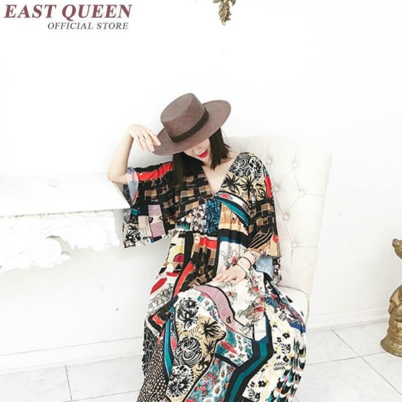 Vintage Mujeres Profunda 2018 Un Japonés Cuello Recto Verano 1 Las Impreso Kk1121 Vestido Kimono De V w1rzqg1X