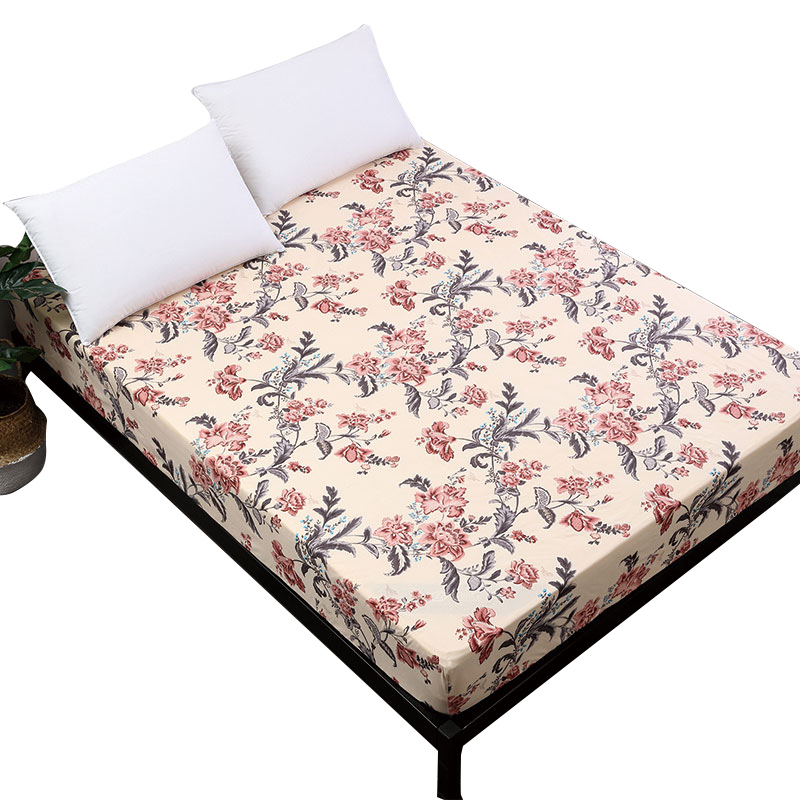 Floral Pastoral Printing Fitted Sheet Brushed Bedding Sheet With Elastic Band Mattress Cover Protector Bed Linens Home Textile