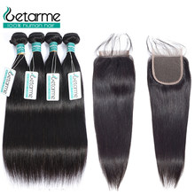 Straight Hair 3 Bundles With Closure Non Remy Hair Weft Weave Extensions Peruvian Human Hair Bundles With Closure(China)
