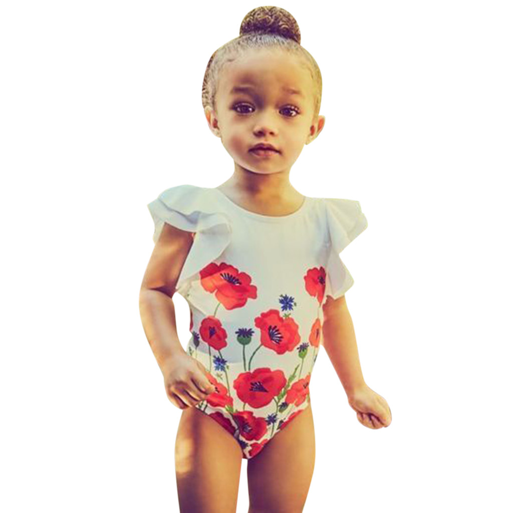 c8616f3556b93 MUQGEW Baby Girls Swimwear Toddler Kids Flower Bikini Swimwear 2019 Summer  One-Piece Swimsuit Bathing