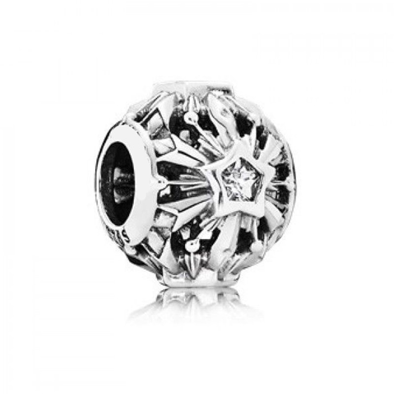Frozen Snowflakes Openwork CZ Charm Beads 100% 925 Sterling Silver DIY Jewelry Fit pandora charms silver 925 original