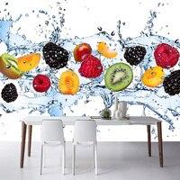 Foto Wallpaper 3D Fruit Fall In Acqua Sfondo Murale Ristorante Cafe Cucina Decorazione Della Parete di Casa Rivestimenti di Stoffa Moderna