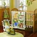 2014 Новый 7 шт. Вышитые Лесные Животные Мальчик Детская Кроватка Детская Кроватка Bedding Set 4 пунктов включает в себя Одеяло Бампер Приспособленный Лист юбка
