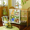 2014 New 7pcs Embroidered Forest Animals Boy Baby Cot Crib Bedding Set 4 items includes Quilt Bumper Fitted Sheet Skirt