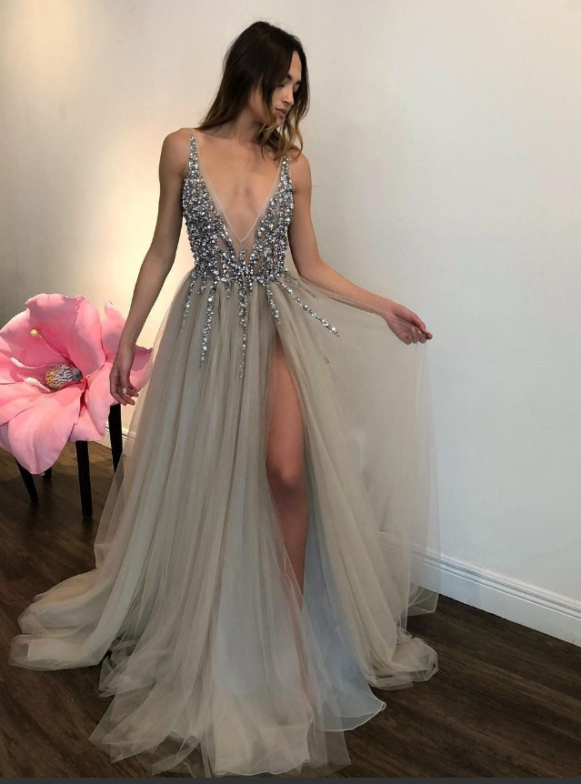 Long Backless Grey Sexy Prom Dresses with Slit Rhinestone See Through Evening Gowns_conew1