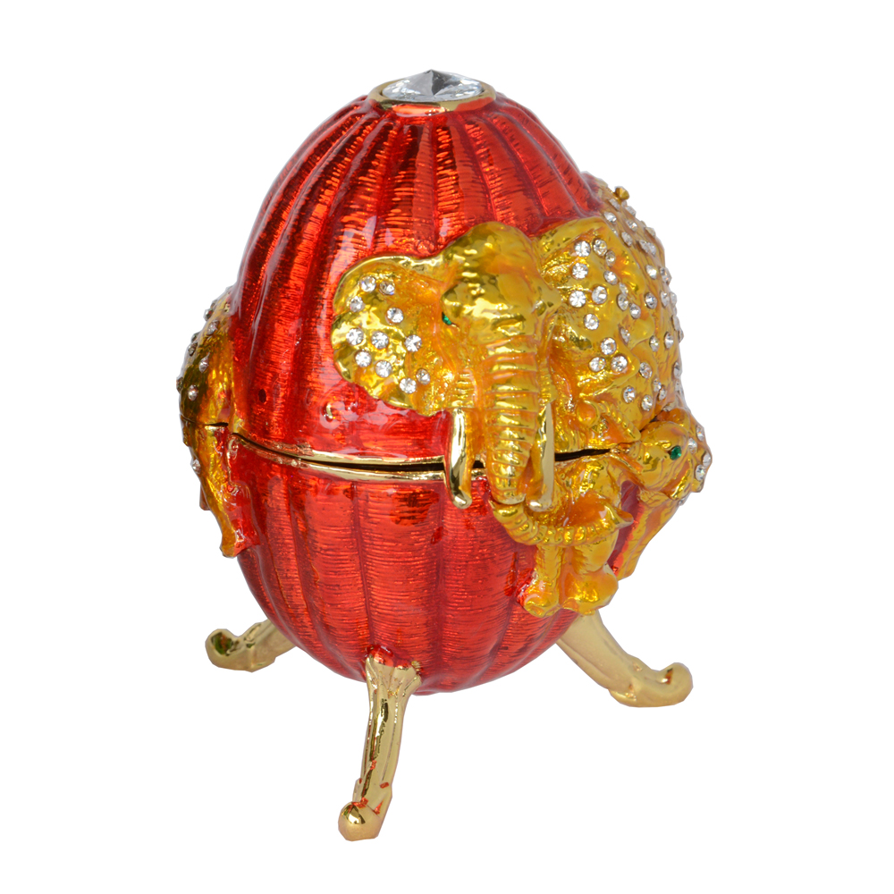 Detail Feedback Questions about Free shipping Russian craft faberge style  elephant on Easter egg trinket box metal jewelry box Christmas gifts red  and green ... f9b7def8b3a7