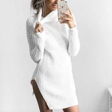 Осень-зима Длинные рукава Водолазка вязаные высокие Разделение платье пикантные Femme Платья-свитеры Пуловеры для женщин халат ws2806c