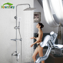 Hownifety Bathtub Faucets Luxury Chrome  Bathroom Faucet Mixer Tap Rainfall Hand Held Shower Head Kit Shower Faucet Sets