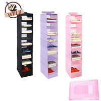 WIILII 9 Cell Hanging Storage Box For Sorting Underwear Clothes Shoes Door Wall Closet Organizer